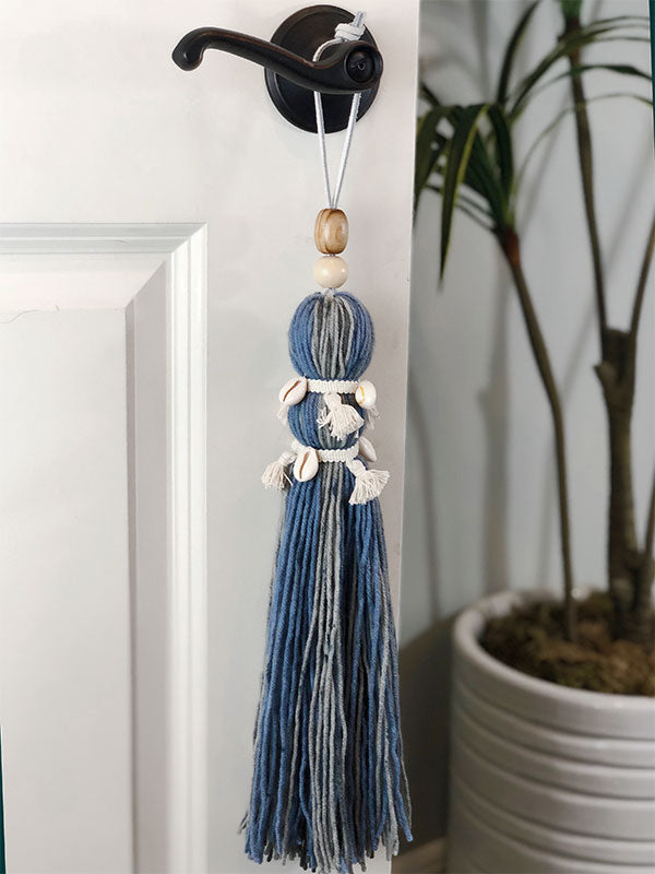 Extra Large Handmade Beach Babe Tassel with Double Mini Tassel Trim and Pucca Shells