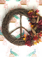 Fall Leave Peace Sign Door Wreath Handmade by Declaration HOME