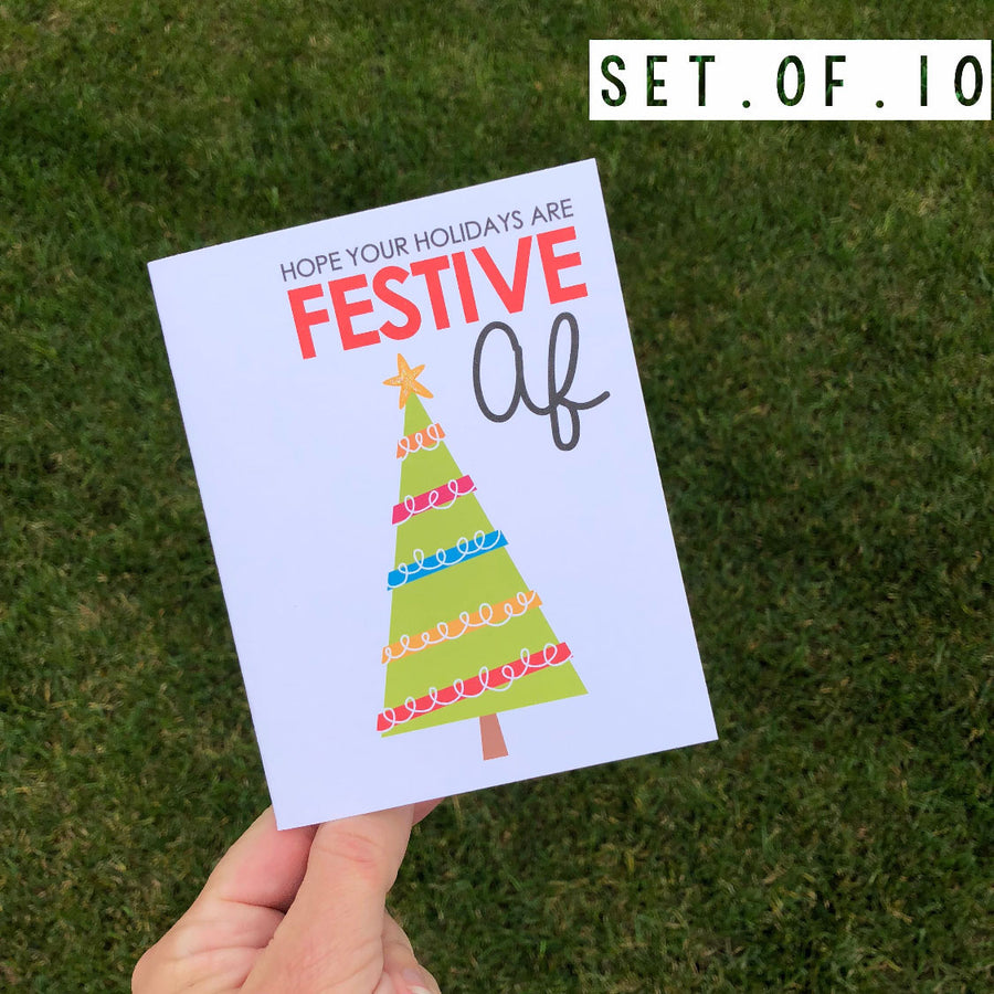 Festive AF Holiday Card 10 Pack