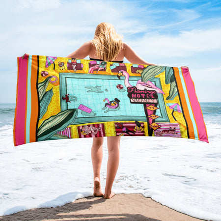 Flamingo Hotel - XL Beach Towel featuring Maggie Stephenson Art