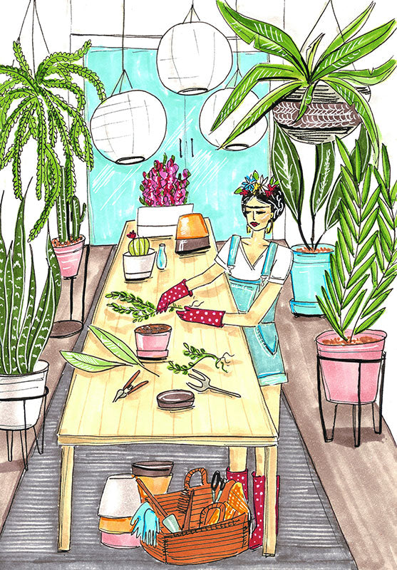 Gardening with Frida Art Print by Maggie Stephenson Art