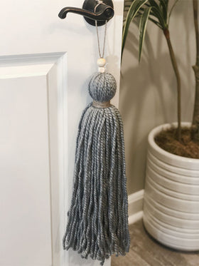 Giant Handmade Slate Gray<br>Tassel with Natural Jute Collar