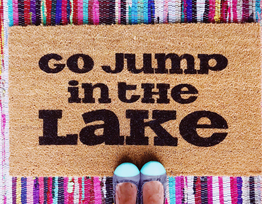 Jump in the Lake Funny Doormat