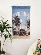 Palm Tree Flag, Wall Hanging - Good Times and Tan Lines Fabric Banner