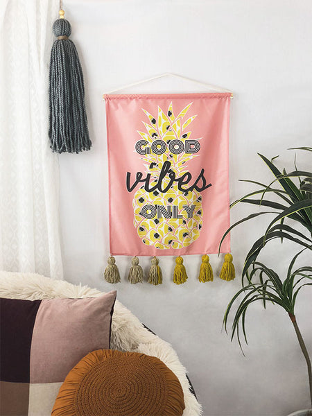 Good Vibes Pineapple Small Wall Hanging<br>with Hand Tied Tassel Trim