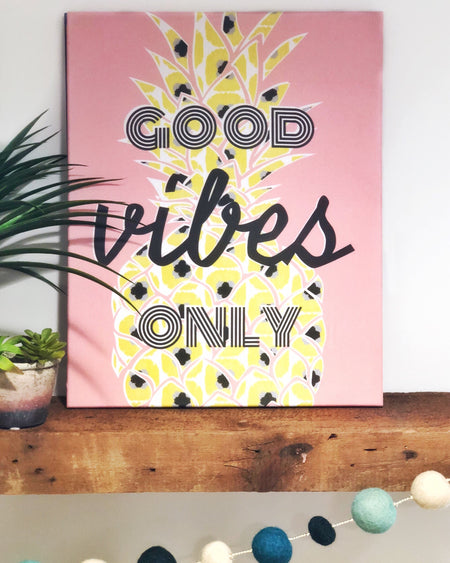 "Good Vibes Pineapple 16""x20"" Stretched Art Canvas"