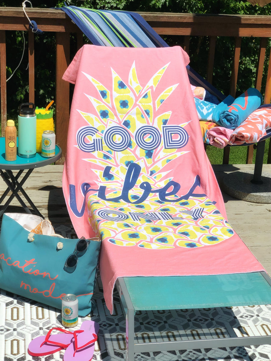 Good Vibes Only Pineapple XL Beach Towel