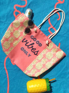 Good Vibes Pineapple Rope Handle Beach Bag + Weekend Tote