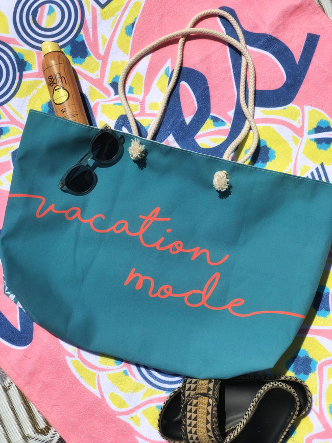 Vacation Mode Rope Handle Beach Bag + Weekend Tote