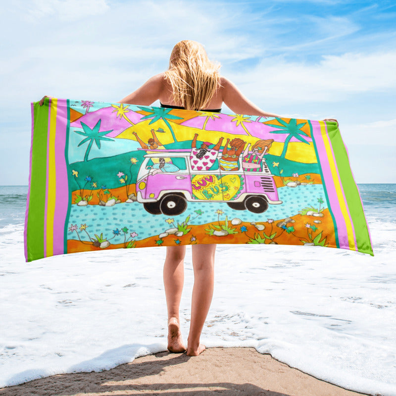 Luv Bus - XL Beach Towel featuring Maggie Stephenson Art
