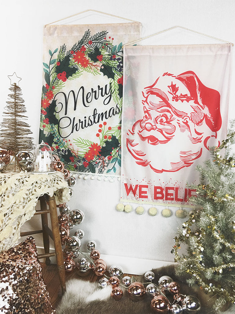 Merry Christmas Wreath and Santa We Believe Decor Wall Hangings