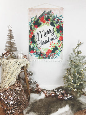 Merry Christmas Wreath Holiday Decor Wall Hanging Flag