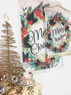 Merry Wreath Christmas Decor Fabric Wall Hanging/Flag