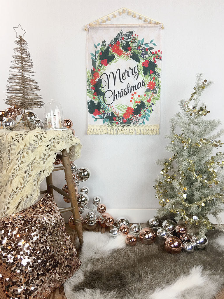 Merry Wreath Christmas Decor Fabric Wall Hanging