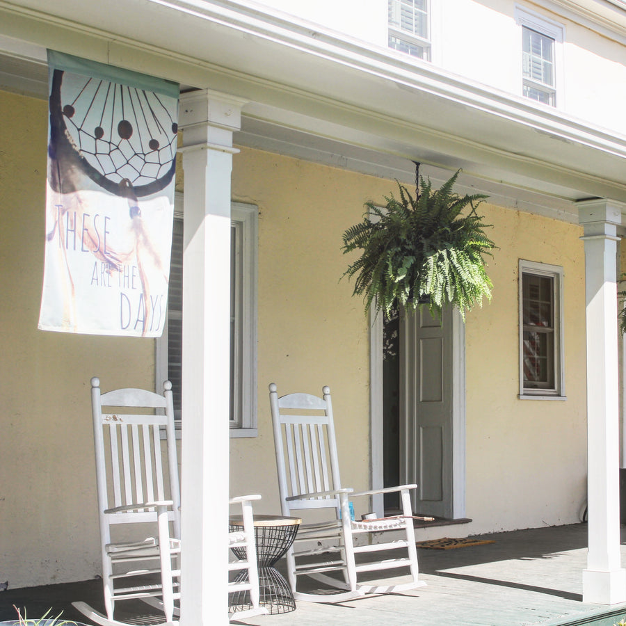 Dreamcatcher Flag hanging from front Porch- Boho, Gypsy, Hippie