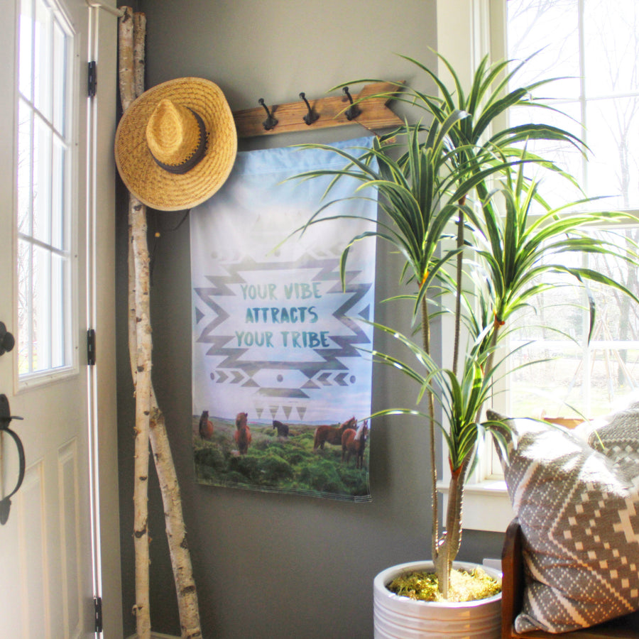 Your Vibe Attracts Your Tribe Wall Hanging, Wall Decor, Wall Art featured in boho farmhouse