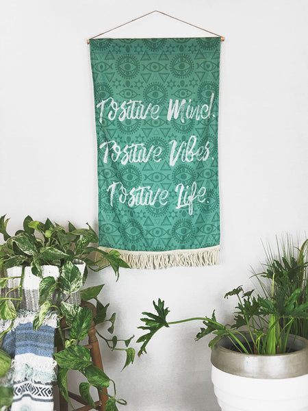 Positive Mind, Positive Vibes Large Wall Hanging