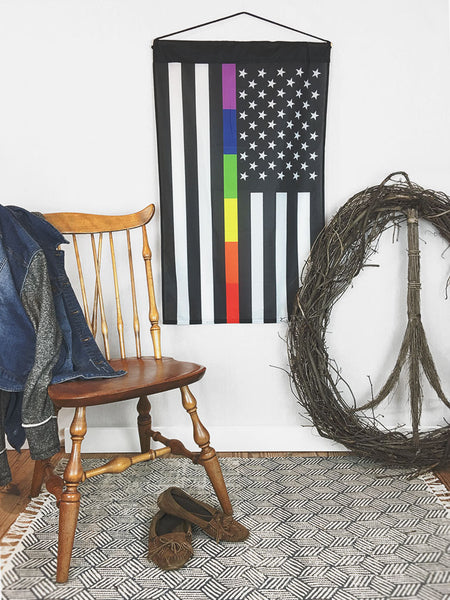 Thin Rainbow Line Gay Pride LGTB | Large Wall Hanging