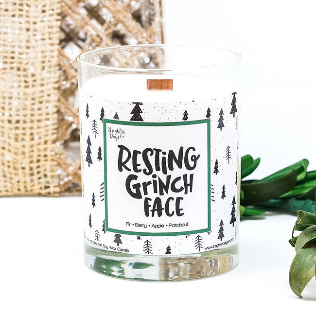 Resting Grinch Face Holiday Soy Candle