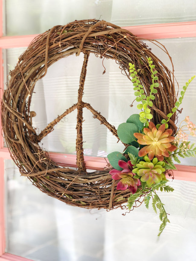 Faux Succulent<br>Peace Wreath