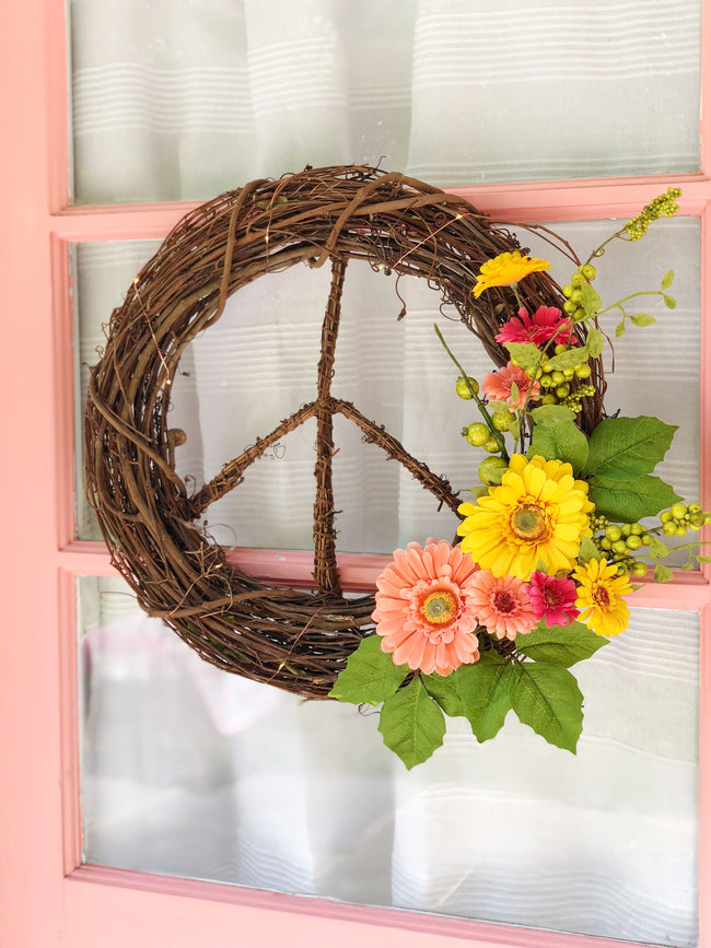 Wildflower Peace Sign Wreath - Door Wreath - Summer Decor