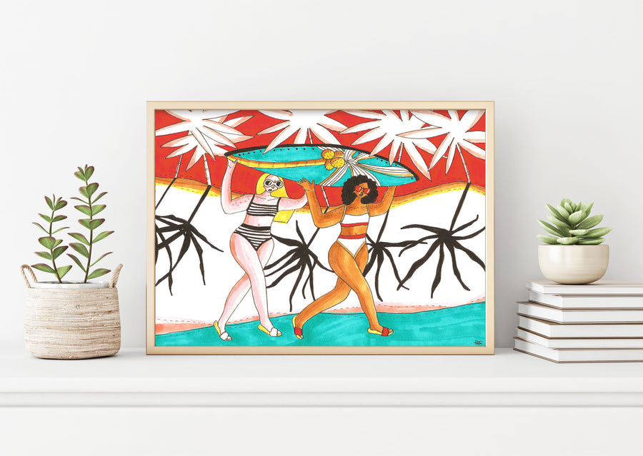 Surfing Girls Art Print by Maggie Stephenson Art