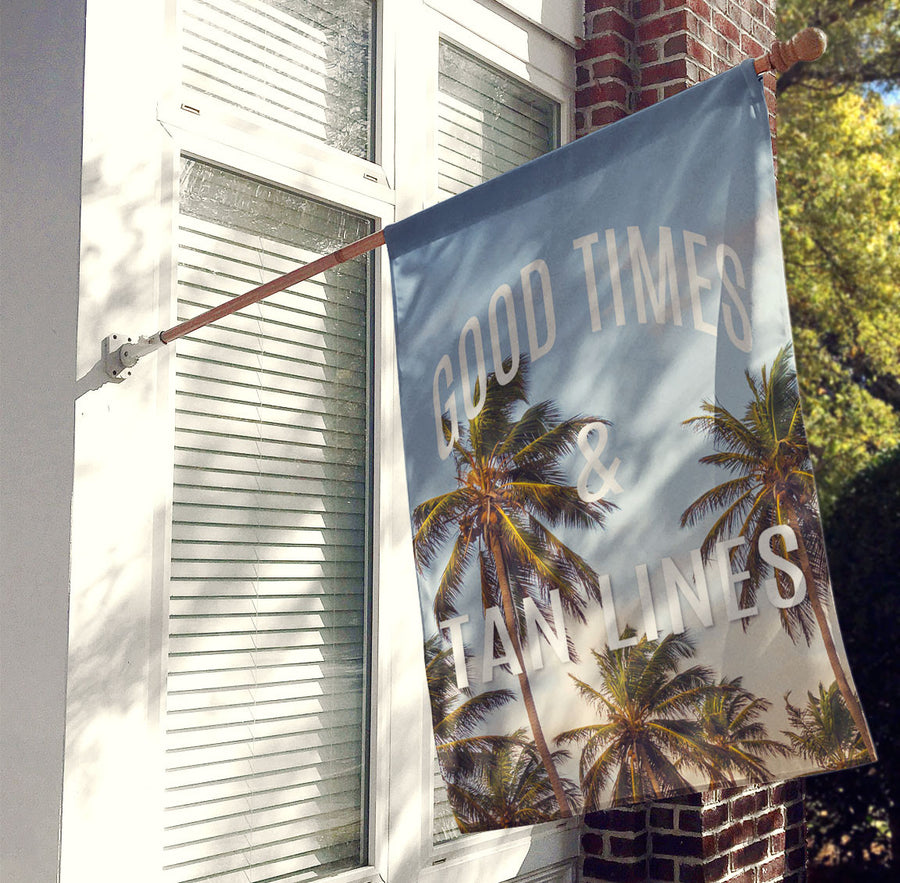 Good Times and Tan Lines Palm Tree House Flag, Decorative Flag, Outdoor Flag