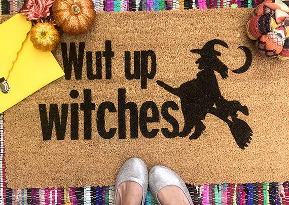 What Up Witches <br>Halloween Inspired Funny Doormat