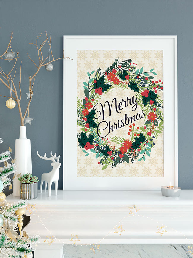 Merry Christmas Wreath | Limited Edition Art Print / Poster