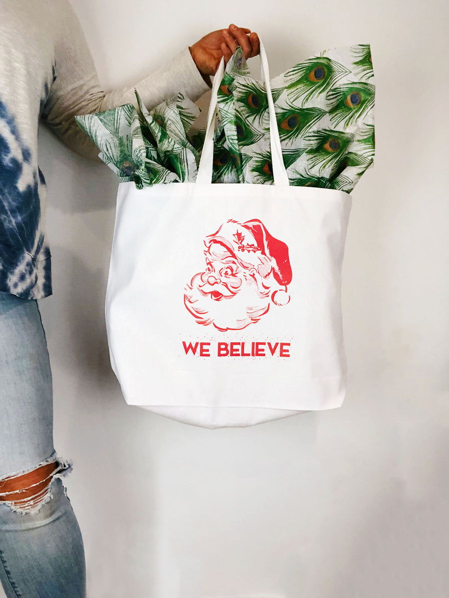 We Believe Santa - XL Holiday Gift Tote