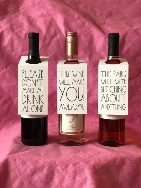 Funny Wine Bottle Gift Tags - Rae Dunn Bitch About It Set