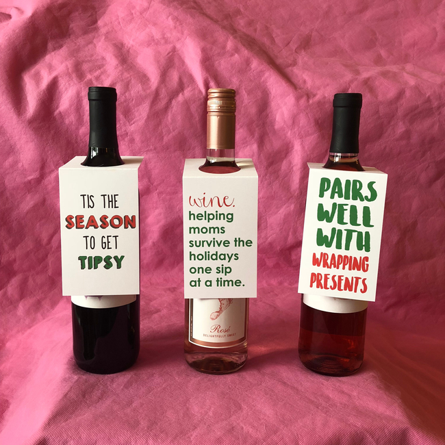 Funny Wine Bottle Gift Tags - Holiday Tipsy Set