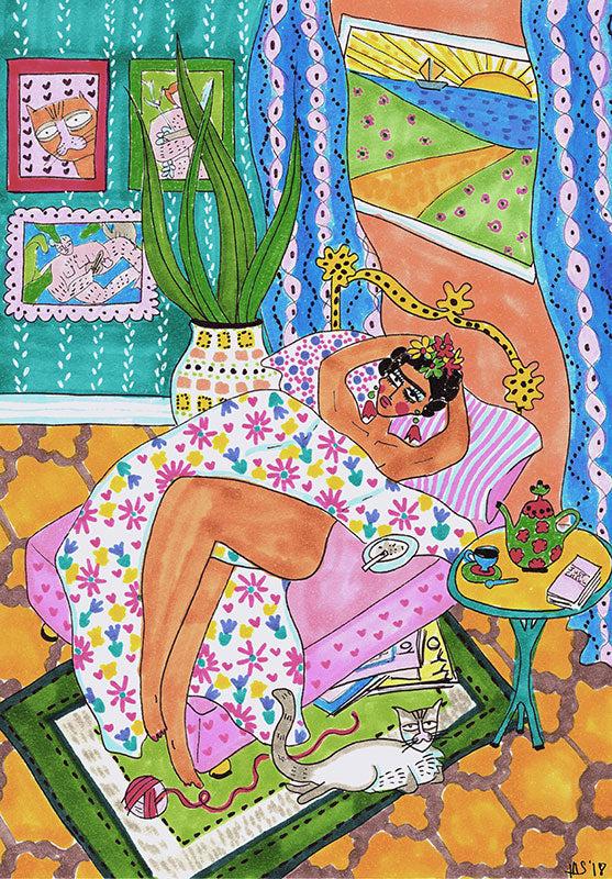 Morning Chill Frida Art Print by Maggie Stephenson Art