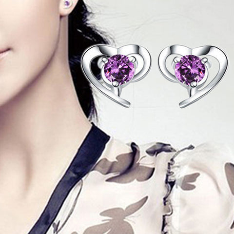 Inclined Heart Shaped Silver Plated Earrings