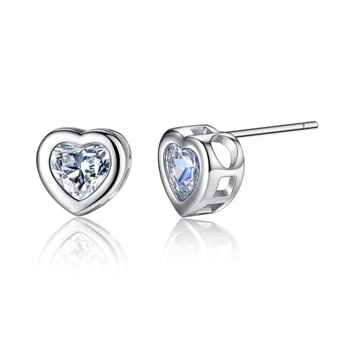 Heart Shaped Zircon Triangle Noble Silver Stud