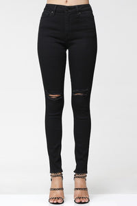 Black Distressed Skinny Denim Pants #BBK