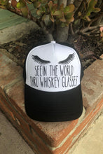 Load image into Gallery viewer, Seein The World Thru Whiskey Glasses Trucker Hat
