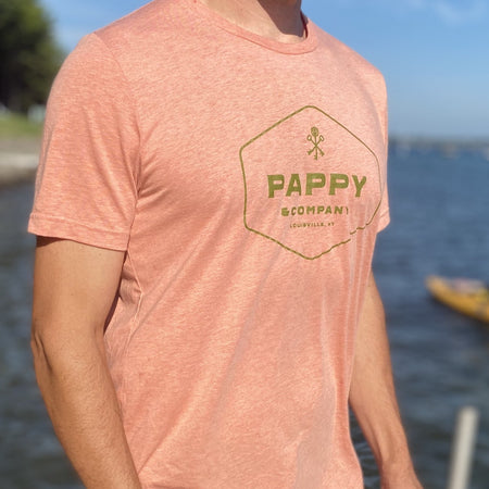 Unisex T-shirt Pappy & Company Enclosed Logo in Sunset Coral Tri-blend