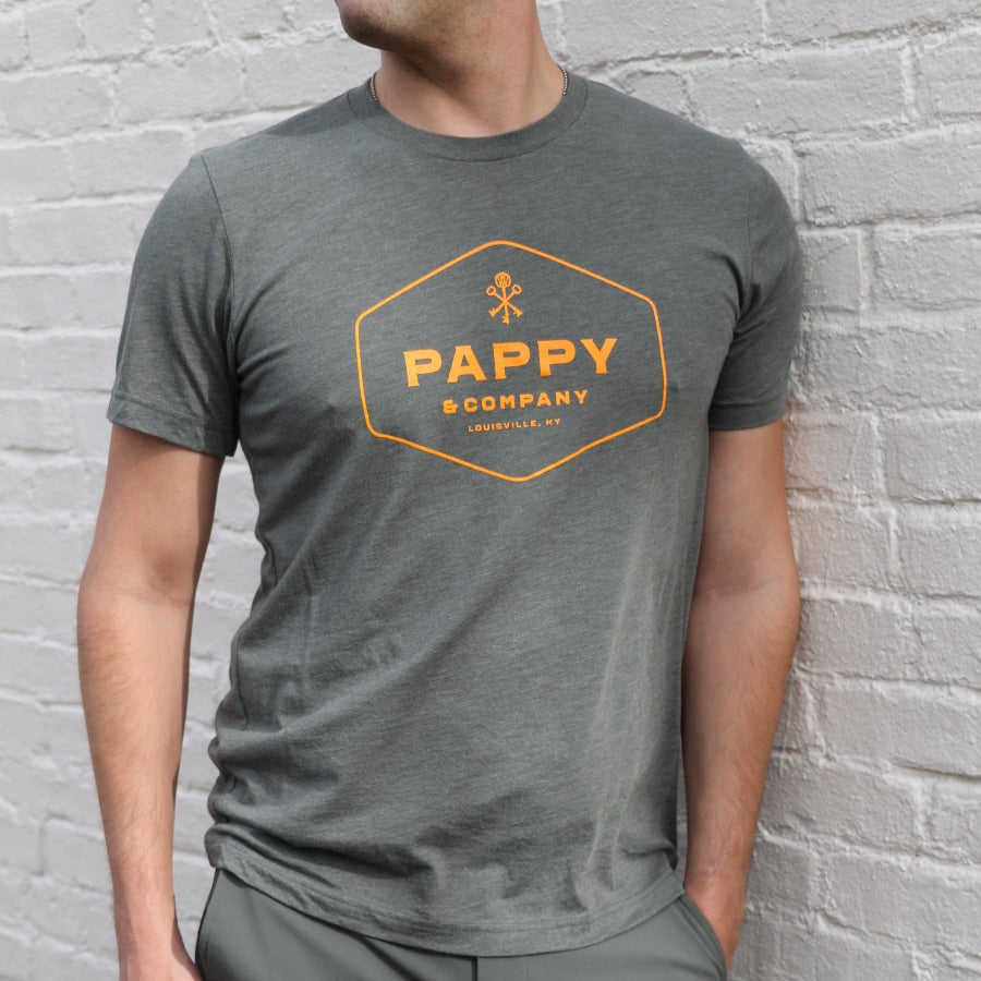 Unisex T-shirt Pappy & Company Enclosed Logo in Olive Green Tri-blend