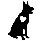Sitting German Shepherd Heart Car Sticker