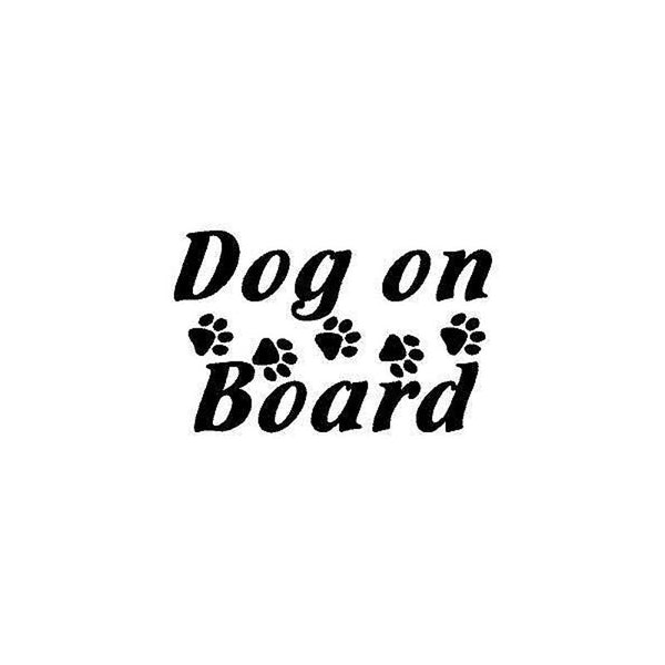 Dog On Board Paw Print Car Sticker