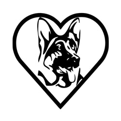Heart German Shepherd Car Sticker