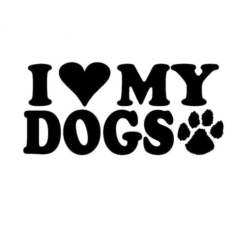 I Heart My Dogs Paw Print Car Sticker