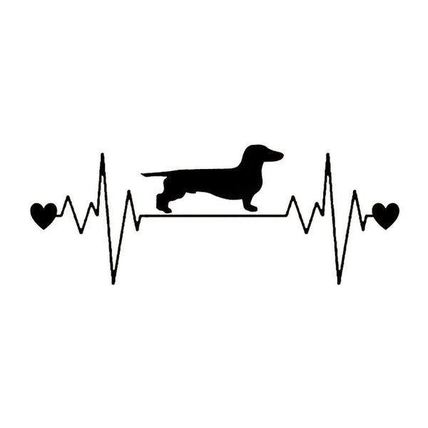 Dachshund Heartbeat Car Sticker