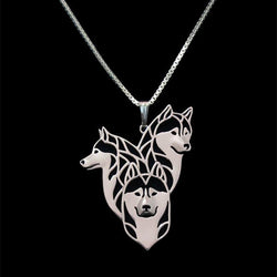 Three Dogs Siberian Husky Necklace
