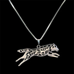 Leaping Siberian Husky Necklace