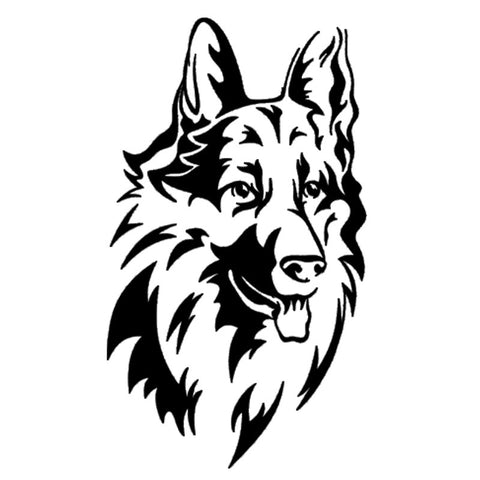 Long Haired German Shepherd Car Sticker