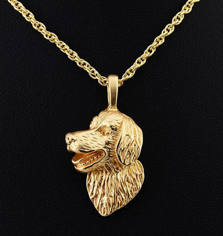 Vintage 3D Golden Retriever Necklace