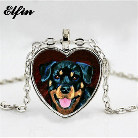 Trendy Rottweiler Heart Necklace