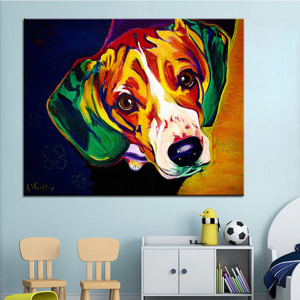 Large Beagle Print Oil Painting